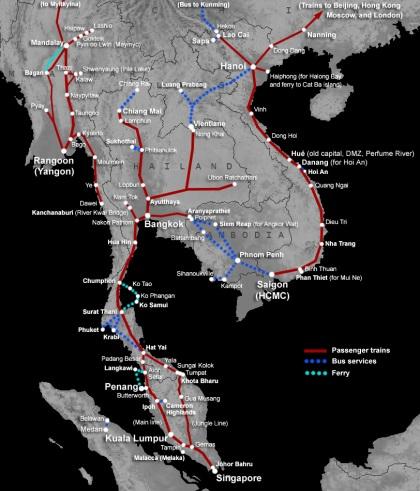 Peta Jalur Kereta Api di Asia